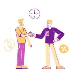 Man borrower shaking hand with employee taking vector