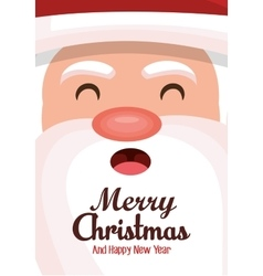 Merry christmas card face santa design vector