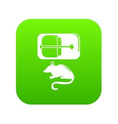 Mousetrap icon green vector