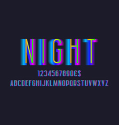 Night alphabet with numbers and currency signs vector
