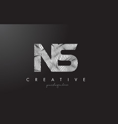 ns n s letter logo with zebra lines texture vector image