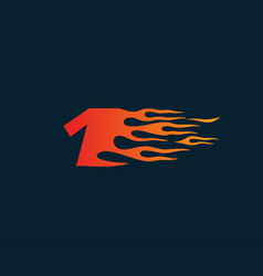 Number 1 fire flame logo speed race design vector