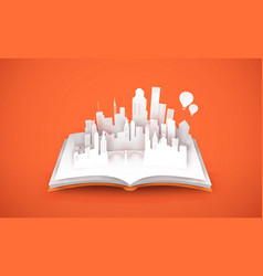 open book with 3d papercut tower city concept vector image