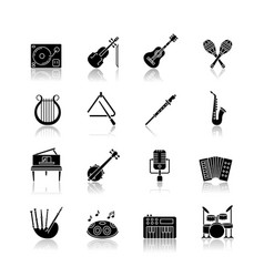 orchestral instrument drop shadow black glyph vector image