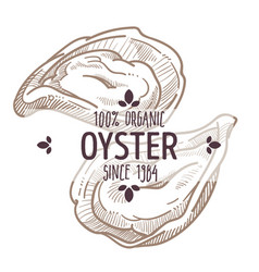 Oyster emblem seafood organic ingredients menu vector