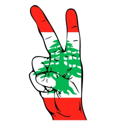 Peace sign of the lebanese flag vector