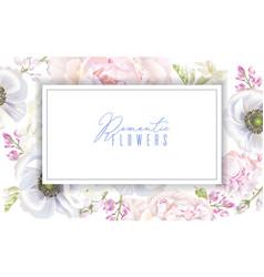 Peony anemone banner vector