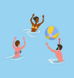 People splashing in sea playing volleyball vector