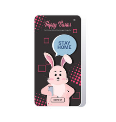 rabbit with stay home chat bubble speech happy vector image
