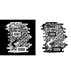 rock music on a brick background black and white vector image