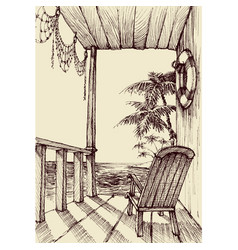 Sea view from the porch of a beach house holiday vector