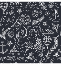 seamless pattern with cactus palm trees ship vector image