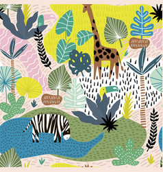 seamless pattern with giraffe zebratucan and vector image