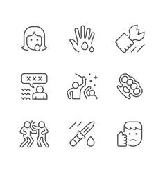 set line icons violence vector image