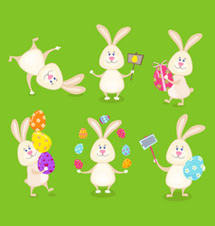 Set of cute easter rabbits with easter eggs vector