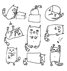 Set of handdrawn cute cats in various poses vector image