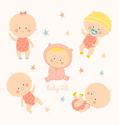 set with cute baby girls growth from newborn to vector image