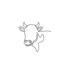 single continuous line drawing plump cow head vector image