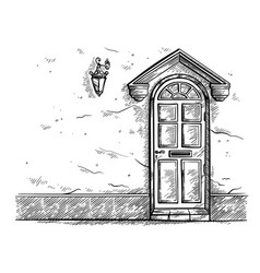 sketch hand drawn old wooden door in the wall with vector image