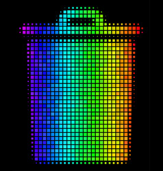 Spectral colored dotted trash bin icon vector