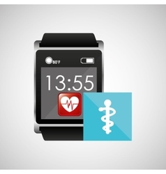 square smart watch health medical symbol vector image