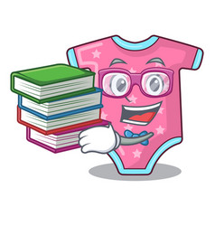 Student with book baby wool clothes isolated on vector