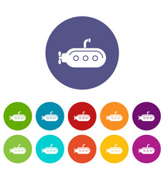 Submarine with periscope icons set color vector