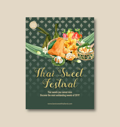 Thai sweet poster design with imitation fruits vector