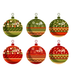 Traditional ornament patchwork xmas bubbles cosy vector