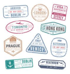 Travel stamp vintage passport visa international vector