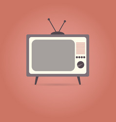 tv flat icon on red background vector image