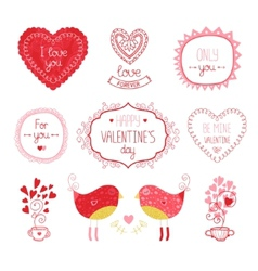 Valentine elements for design vector image