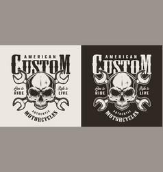 Vintage custom motorcycle monochrome print vector