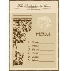 vintage menu restaurant vertical vector image