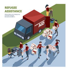 Volunteer working caring team helping to homeless vector