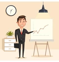 Businessman with rising graph at seminar vector