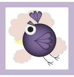 Flying in clouds cartoon bird vector image