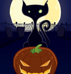 halloween night black cat vector image vector image