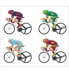 Set of different Racing cyclist in action vector image