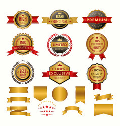 collection of luxury gold badges and logos vector image