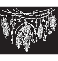 Feathers and ribbons in tribal style on black vector image vector image