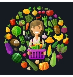 fresh food logo design template gardening vector image vector image