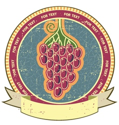 Red grapes label with scroll for text on old vector image vector image