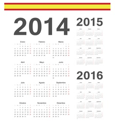 Set of Spanish 2014 2015 2016 calendars vector image vector image