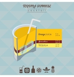 Tequila sunrise cocktail flat style isometric vector image