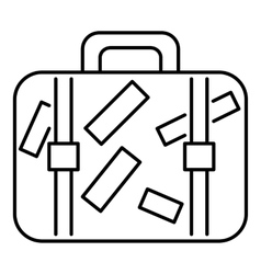 Travel suitcase icon outline style vector image