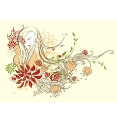 Abstract floral girl vector image