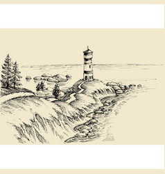 beach drawing a path to the lighthouse and vector image vector image