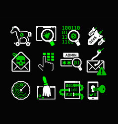 hacking icons set vector image