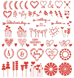 Heart flowers set vector image